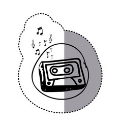 Figure radio technology with notes music icon vector
