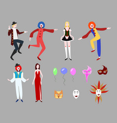 Flat carnival collection vector