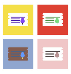 Flat icon design collection paper from tree vector