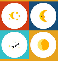 Flat icon night set of lunar night bedtime and vector