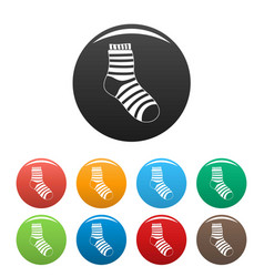 Fuzzy sock icons set color vector