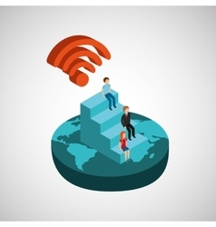 Global connection wifi digital family vector
