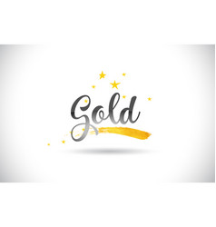 Gold word text with golden stars trail and vector
