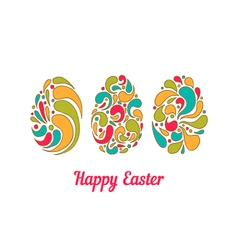 Greeting card with doodle full color easter eggs vector image