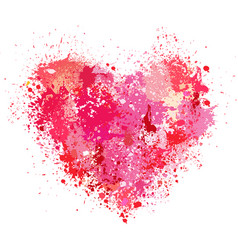 Heart made of spray and drops grunge background vector