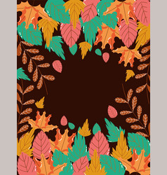 hello autumn foliage leaves border decoration vector image