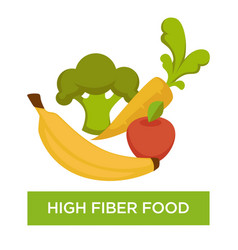 high fiber food fruit and vegetable nutrition vector image