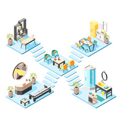 hostel isometric design concept vector image