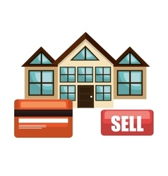 House real estate sell credit card business design vector