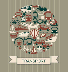 icons of various means of transportation vector image