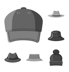 isolated object of headgear and cap icon set of vector image