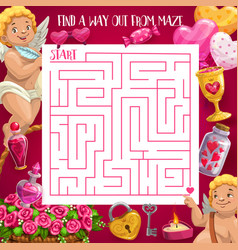 kids maze game valentines square labyrinth vector image