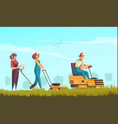 Lawn cutting background vector