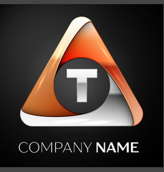 Letter t logo symbol in the colorful triangle on vector