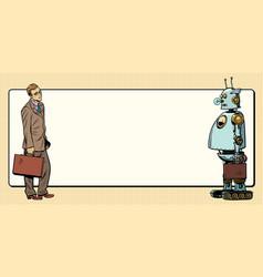 man vs artificial intelligence vector image