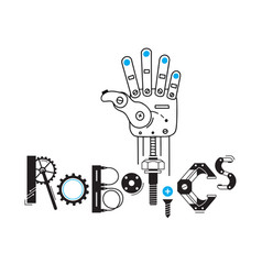 mechanical arm from the robot and the inscription vector image