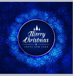 merry christmas festival blue card made vector image