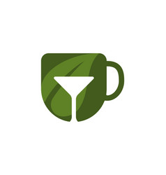 mug leaf cocktail logo designs inspiration vector image
