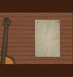 music background with wooden planks vector image