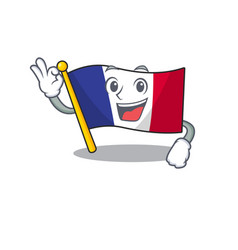 Okay flag france isolated with mascot vector