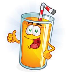 Orange juice cartoon character thumbs up vector