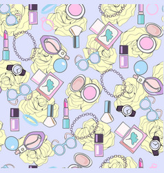pattern with elemets make up beauty cosmetic vector image