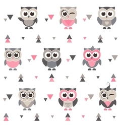 Pattern with owls owlets and triangles vector