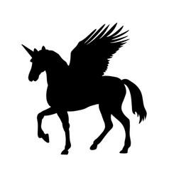 Pegasus unicorn silhouette mythology symbol vector
