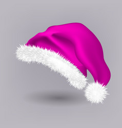 pink santa hat snow clothing celebration vector image