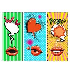 Pop art female lips hearts speech bubbles vector