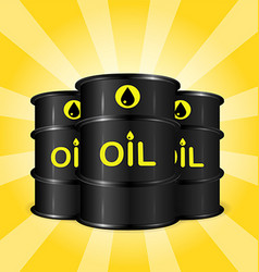 Realistic oil barrels on sunray background vector image