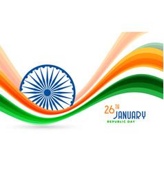 Republic day india wavy flag background design vector