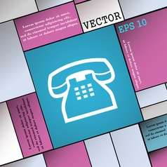 Retro telephone handset icon sign Modern flat vector
