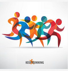 Running people set of stylized icons and vector