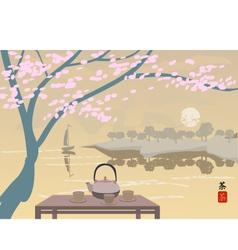 Sakura Tea ceremony Menu Coffee vector