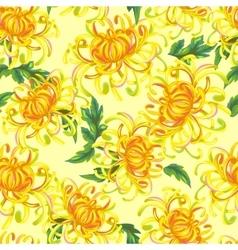 Seamless pattern with chrysanthemum flowers vector