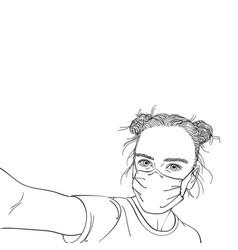 Selfie portrait teenage girl in medical face vector