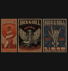 set color vintage posters on theme rock vector image