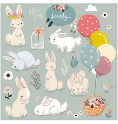 set cute hares with balloons vector image