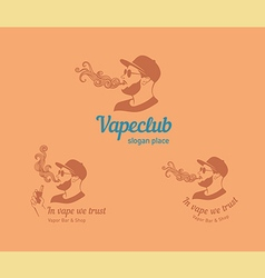 Set logos for the club shop or electronic cig vector