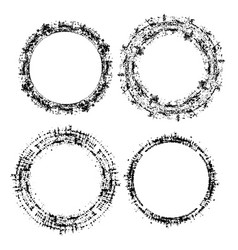 set of round grunge frame vector image
