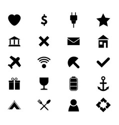 set of twenty black and white simple icons vector image
