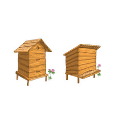 set wooden beehives isolated on white vector image
