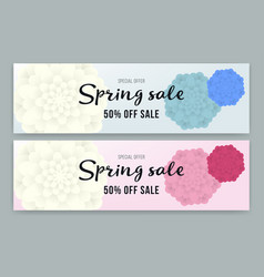 spring sale flyer or voucher design set vector image