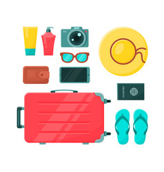 Suitcase composition with set personal vector