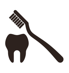 tooth and toothbrush icon vector image