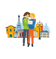 travel to france explore the city navigation vector image
