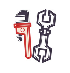 two adjustable wrenches in cartoon style flat vector image