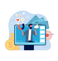 video marketing concept self promo video blogging vector image