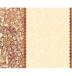 Vintage henna tattoo mehndi flowers background vector